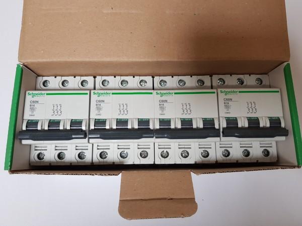 4x Schneider Electric 23652 C60N B16 Sicherungsautomat Leitungsschutzschalter LS 3-polig