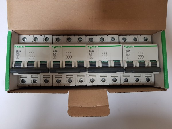 4x Schneider Electric 23775 C60N C16 Sicherungsautomat Leitungsschutzschalter LS 3-polig